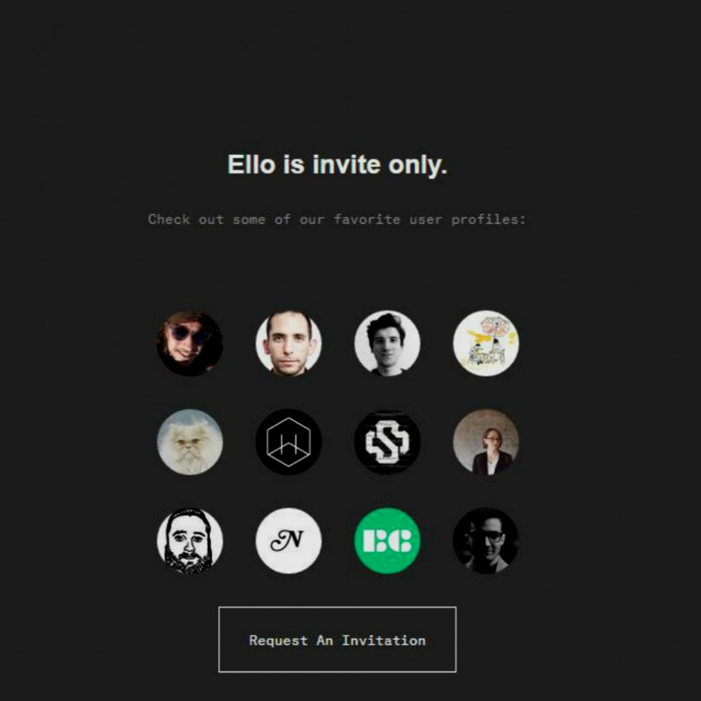 Ello front page