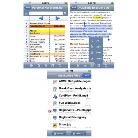 Quickoffice pe iPhone